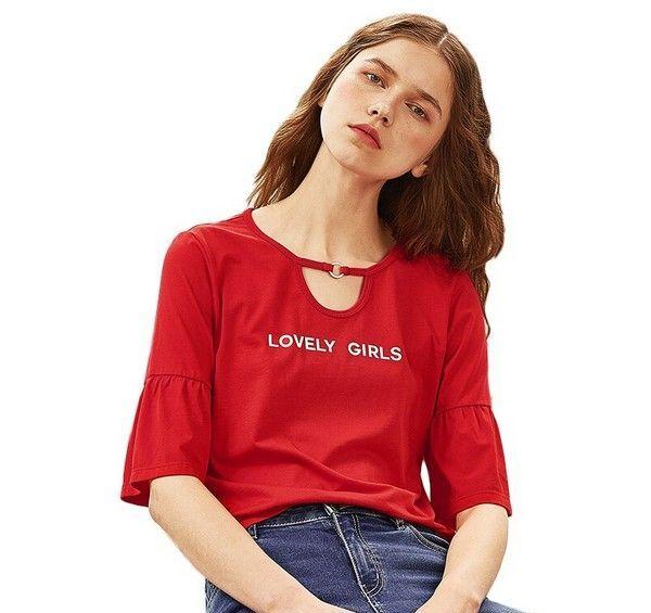 A21 红色字母印花短袖T恤第1张