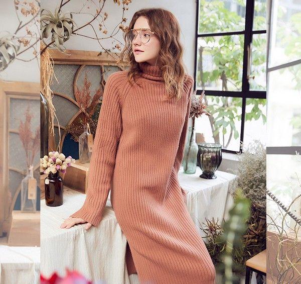 纯色高领针织连衣裙第2张