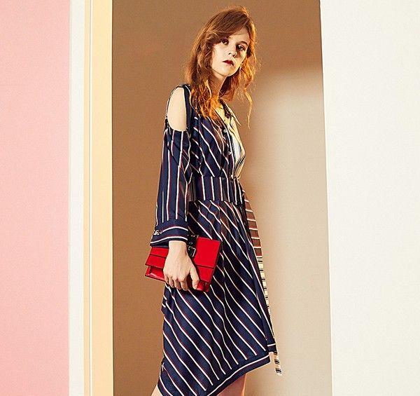 不规则条纹连衣裙第1张
