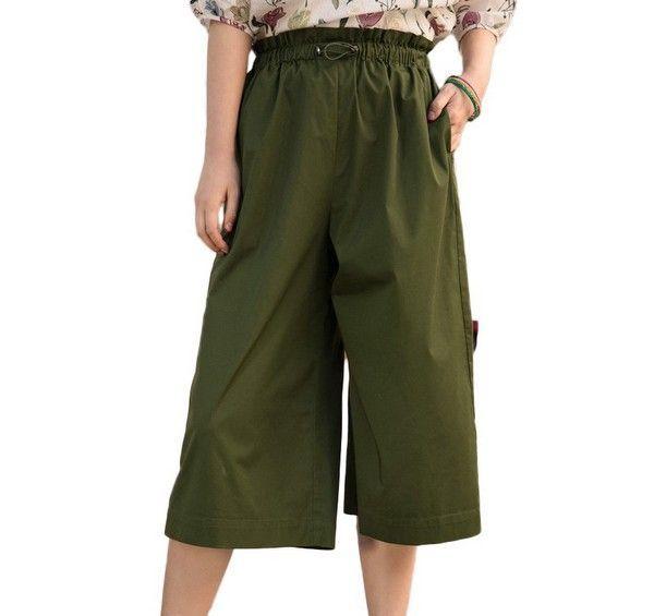 茵曼 绿色橡筋腰七分阔腿裤第1张