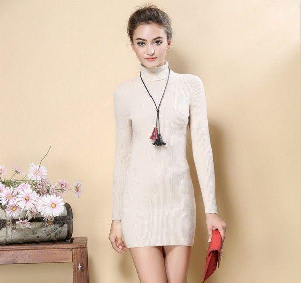 高领纯色针织连衣裙第3张
