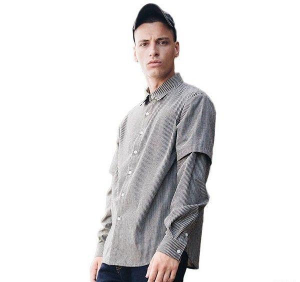 威秀 黑白条纹长袖衬衫第1张