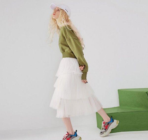 纯色网纱蛋糕裙第1张
