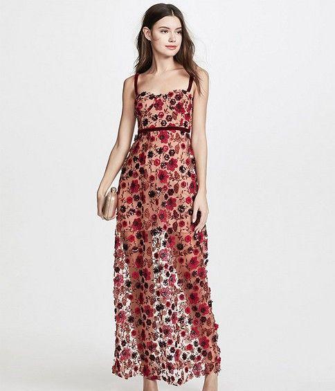 刺绣蕾丝吊带连衣裙第1张