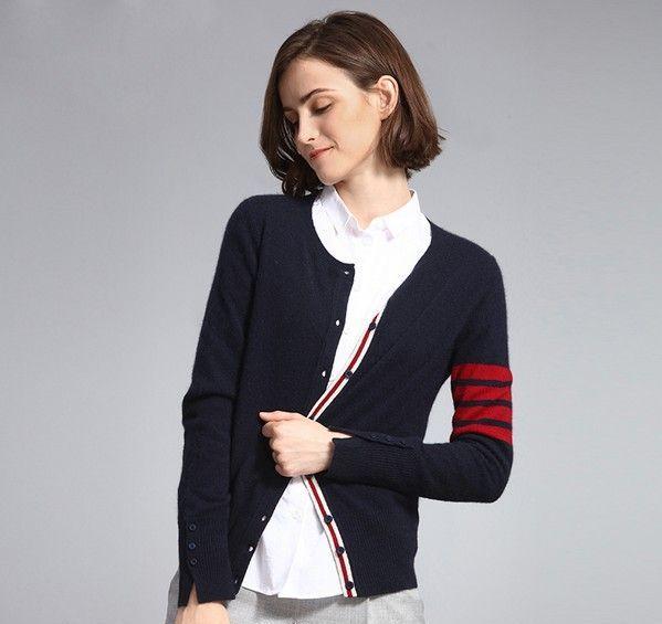 圆领条纹羊绒针织开衫第3张