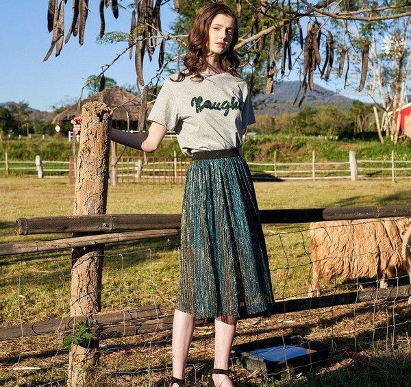 亮片字母T恤百褶半裙套装第1张