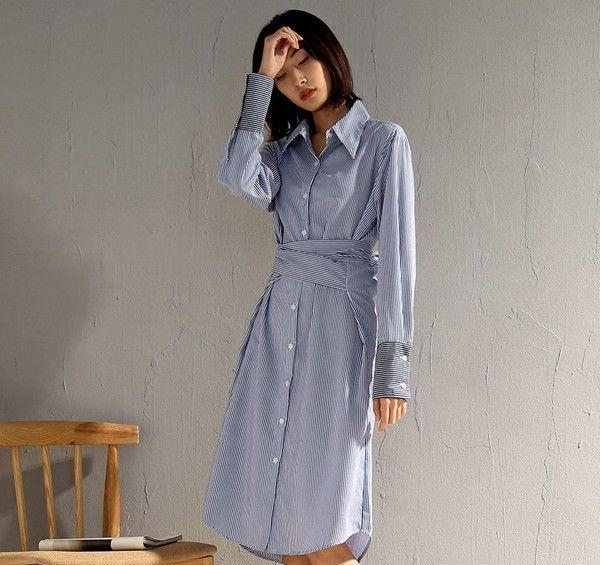 绑带收腰过膝条纹衬衫裙第6张