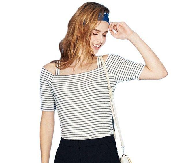 A21 条纹吊带露肩短袖T恤第1张
