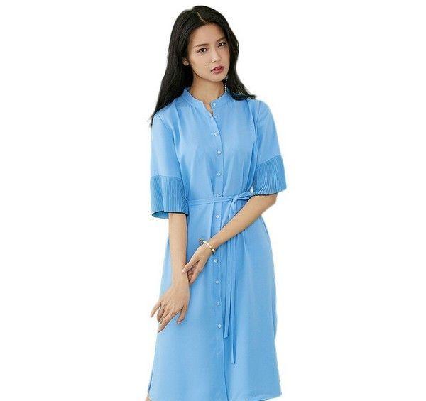 范思蓝恩 系带立领雪纺连衣裙第1张