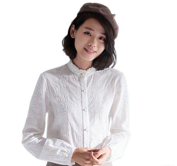 茵曼 绣花纯棉长袖立领衬衫第1张