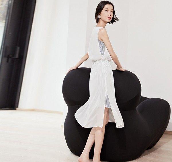 双层雪纺收腰无袖裙第6张