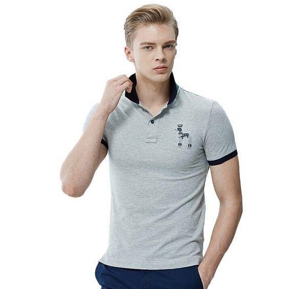 哈吉斯 撞色翻领短袖T恤第1张