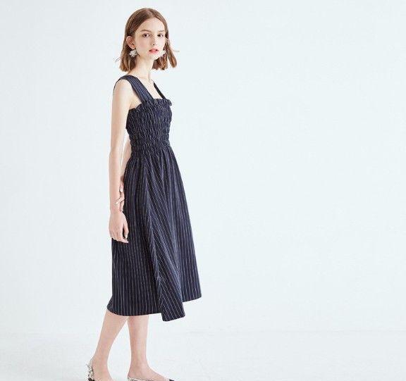 条纹收腰无袖连衣裙第1张
