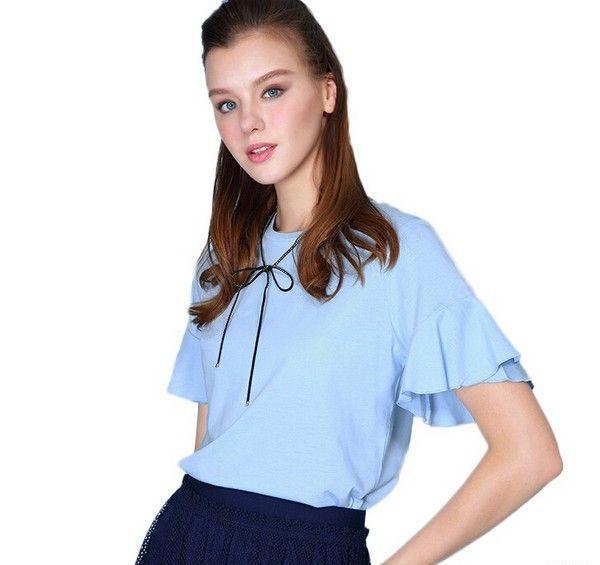 堡狮龙 粉蓝色荷叶袖圆领T恤第1张
