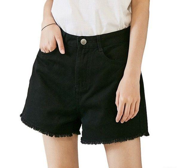 素缕 黑色毛边牛仔短裤第1张