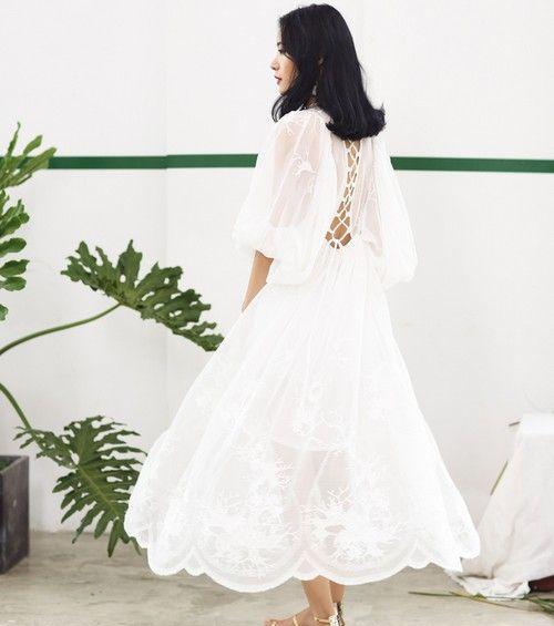 刺绣绑带雪纺长裙第1张